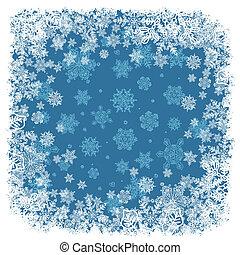 vektor, schneeflocken, blue., rahmen, hintergrund, eps8