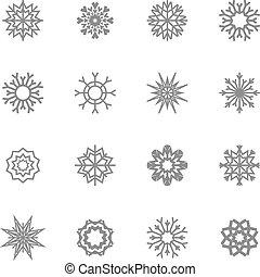 vektor, schneeflocken, theme., weihnachten, winter, set., illustration., eps10.