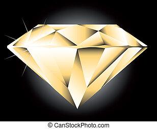 vektor, schnitt, brillant, diamant, perspektive, runder