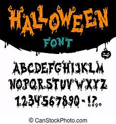 vektor, schriftart, halloween