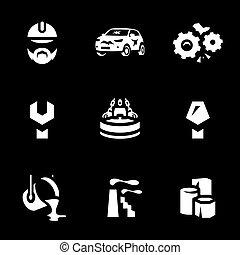 vektor, schrott, satz, icons., verarbeitung