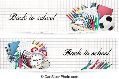 vektor, schule, supplies., zurück, school., banner, zwei