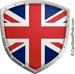 vektor, schutzschirm, britisch, ikone