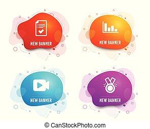 vektor, schválený, podpis., video, icons., čest, kamera, časopisecký evidenční lístek, sloupcový diagram