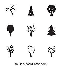 vektor, schwarz, bäume, heiligenbilder, satz