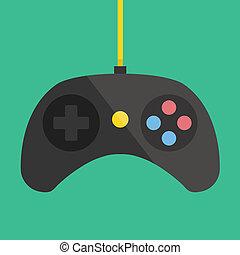 vektor, schwarz, gamepad, ikone