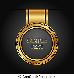 vektor, schwarz, gold, etikett