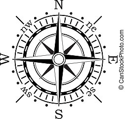 vektor, schwarz, kompaß