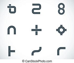 vektor, schwarz, straße, elemente, heiligenbilder, satz