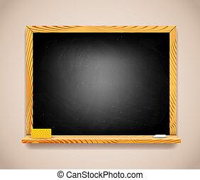 vektor, schwarz, tafel, auf, hellbraun, wand