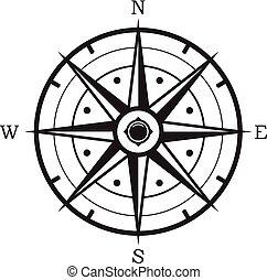 vektor, schwarz weiß, kompaß