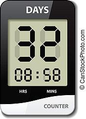 vektor, schwarz, weißes, lcd, bankschalter, -, countdown,...