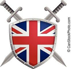 vektor, schwerter, schutzschirm, britisch