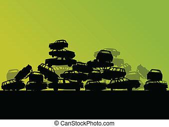 vektor, scrapyard, begriff, altes , friedhof, auto, metall, abbildung, recycelbar, gebraucht, ökologie, hintergrund, autos, industrie, landschaftsbild