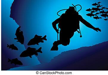 vektor, scuba, farverig, dykker