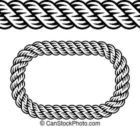 vektor, seamless, čerň, lano, znak