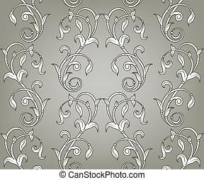 vektor, seamless, blomstret mønster
