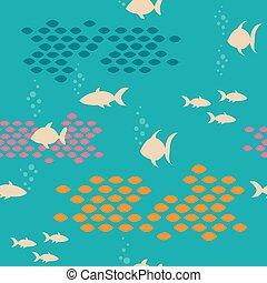 vektor, seamless, design., muster, meer, fishes., druck