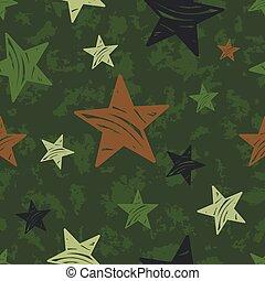 vektor, seamless, grunge, militær, mønster, hos, stjerner
