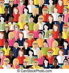 vektor, seamless, mönster, med, a, stor grupp, av, flickor,...