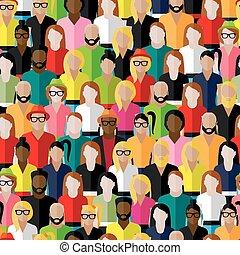 vektor, seamless, mönster, med, a, stor grupp, av, män, och,...