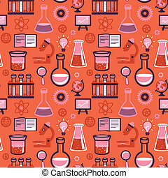 vektor, seamless, mønster, -, videnskab, og, undervisning