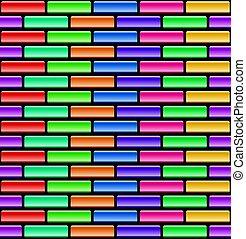 vektor, seamless, model, o, barvitý, cihlový stěna