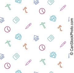 vektor, seamless, model, od, dát, o, živost, icons:, běžet, nemocnice,