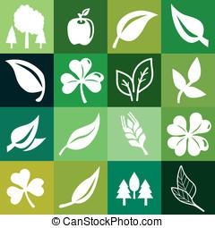 vektor, seamless, muster, mit, ökologie, zeichen & schilder