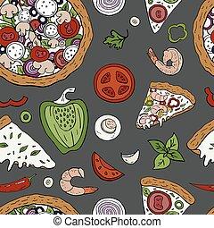 vektor, seamless, muster, mit, italienesche, pizza, elemente, auf, grau, hintergrund., hand, gezeichnet, pizza, muster