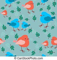 vektor, seamless, patrón, con, aves