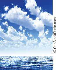 vektor, seascape., abbildung
