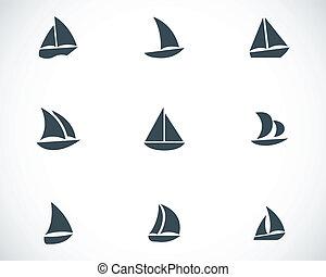Segelboot zeichnung schwarz  Segelboot, heiligenbilder. Vektor, segelboot, satz,... Clipart ...