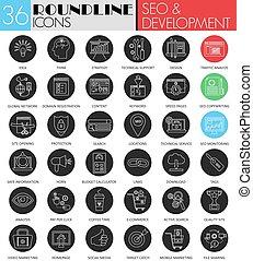 vektor, seo, und, entwicklung, kreis, weißes, schwarz, ikone, set., modern, linie, schwarz, ikone, design, für, web.