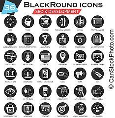 vektor, seo, und, entwicklung, kreis, weißes, schwarz, ikone, set., ultra modern, ikone, design, für, web.