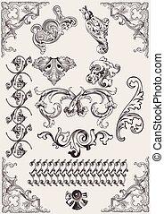 vektor, set:, calligraphic, tervezés elem, és, oldal, dekoráció