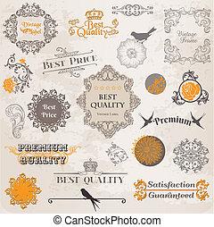 vektor, set:, calligraphic, tervezés elem, és, oldal, dekoráció, szüret, címke, gyűjtés, noha, menstruáció