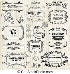 vektor, set:, calligraphic, tervezés elem, és, oldal, dekoráció, szüret, keret, gyűjtés, noha, menstruáció