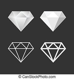 vektor, set., gyémánt, embléma, ikon