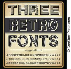 vektor, set:, három, szüret, betűtípusok