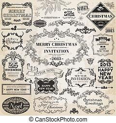 vektor, set:, karácsony, calligraphic, tervezés elem, és,...