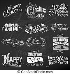 vektor, set:, karácsony, calligraphic, tervezés elem, és, oldal, dekoráció, szüret, keret