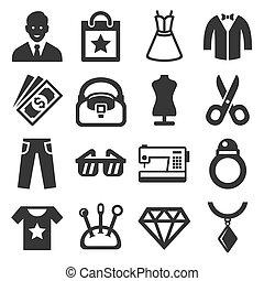 vektor, set., mód, bevásárlás, ikonok