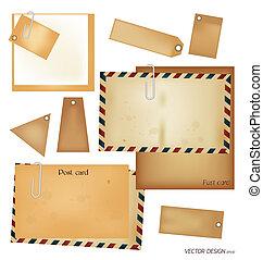 vektor, set:, szüret, levelezőlap, boríték, bélyeg, kártya, és, tiszta, dolgozat, designs.