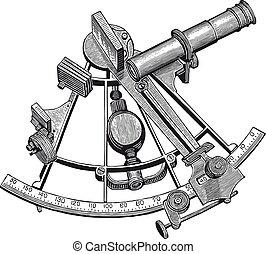 vektor, sextant, gravyr, hög, specificera