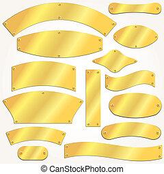 vektor, signboards, pläterar, guld, sätta