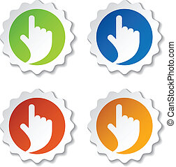vektor, sigte, stickers, hånd