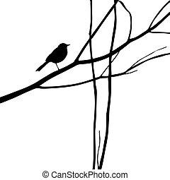 vektor, silhouette, abbildung, holz, zweig, vogel