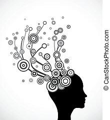 vektor, silhouette, hair., abstraktes gesicht, frau