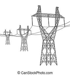 vektor, silhouette, illustration., macht, hoch, lines.,...